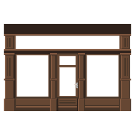 facade: Shopfront with White Blank Windows. Wood Store Facade. Illustration.