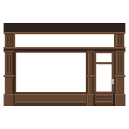 shop display: Shopfront with White Blank Windows. Wood Store Facade.  Illustration.