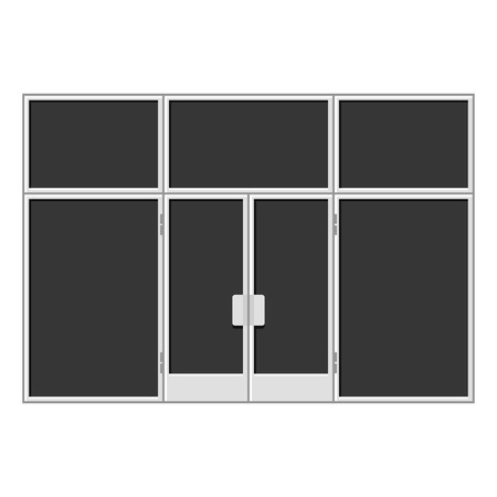 awnings windows: White Shopfront with Large Black Blank Windows. illustration Illustration