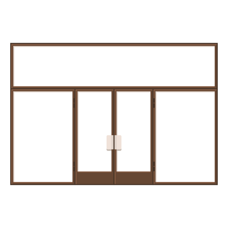 shopfront: Wood Shopfront with Large Black Blank Windows. illustration