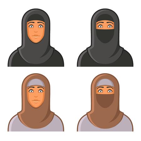 niqab: Muslim Woman in Hijab Avatars Set. illustration Illustration