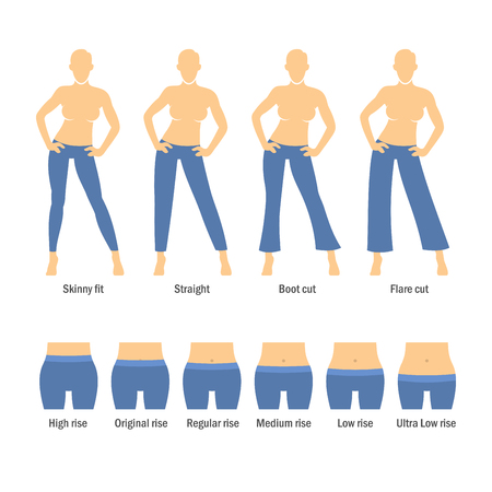 rise: Women Jeans Types Set on White Background. Vector Illustration