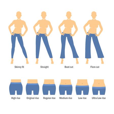 breeches: Women Jeans Types Set on White Background. Vector Illustration