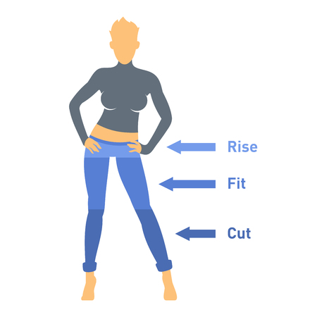 breeches: Women Jeans Parts Set on White Background. Vector Illustration