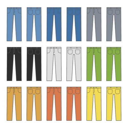 talker: Denim Jeans Different Colors Set. Vector illustration