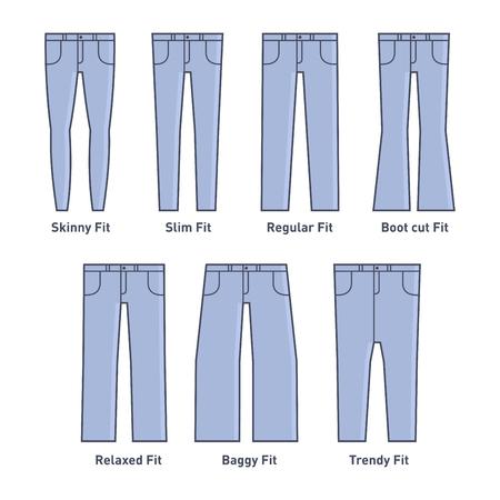 kameez: Women Jeans Types Set on White Background. Vector Illustration