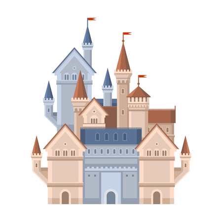 Castle. Magic Fairy Tale Building with Red Flags. Vector illustration
