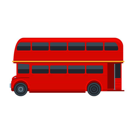 double decker bus: Red London Double Decker Bus isolated on white background. Vector illustration