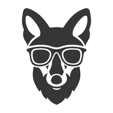 fox face: Hipster Red Fox Face in Glasses. Vector illustration