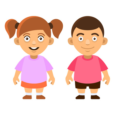 young schoolchild: Two Carroon Style Cute Kids. Boy and Girl on White Background. Vector illustration Illustration