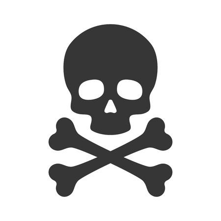 simbolo medicina: Icono de cráneo y tibias cruzadas sobre fondo blanco. ilustración vectorial Vectores