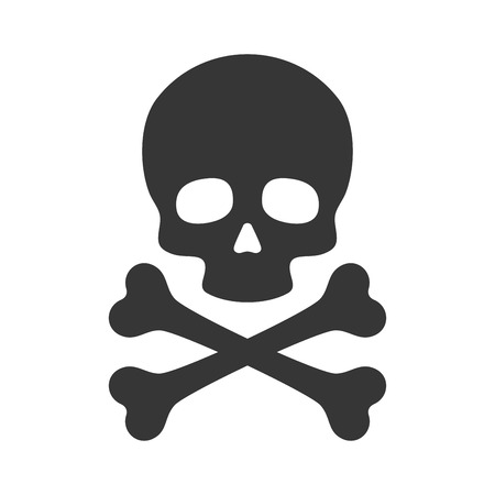 Teschio e ossa incrociate icona su sfondo bianco. illustrazione di vettore