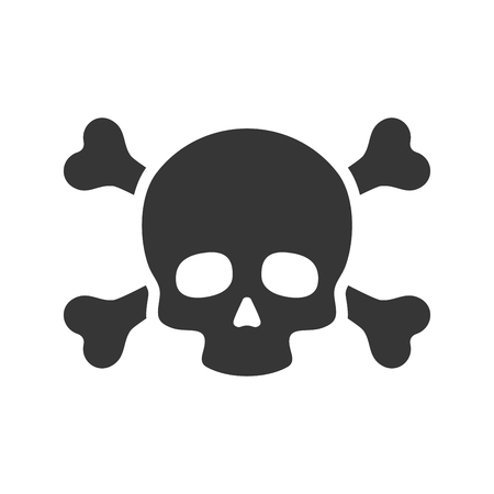 poison symbol: Skull and Crossbones Icon on White Background. Vector illustration