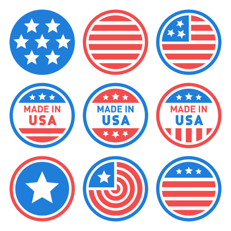 Made in USA Labels Set. Vector illustration Vettoriali
