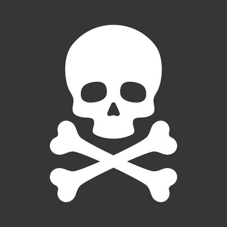 Cranio con l'icona ossa incrociate su sfondo nero. illustrazione di vettore