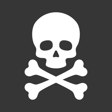dangers: Skull with Crossbones Icon on Black Background. Vector illustration