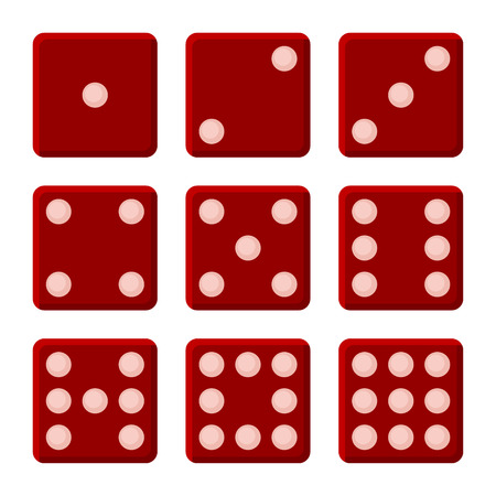 3 4: Red Dice Set on White Background. Vector illustration