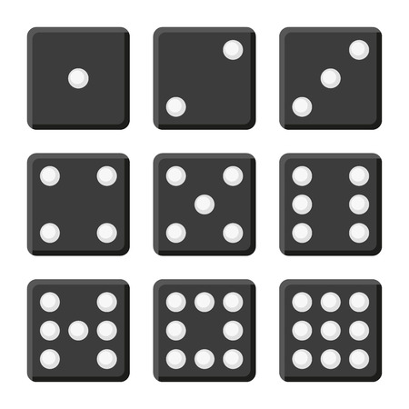 five objects: Black Dice Set on White Background. Vector illustration