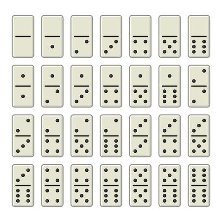 piece: Domino Bones Complete Set on White Background. Vector illustration Illustration