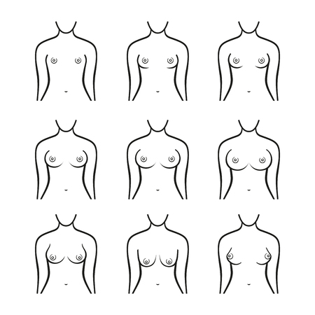 big breast: Female Breast Set. Different Types, Size and Form. Vector illustration Illustration