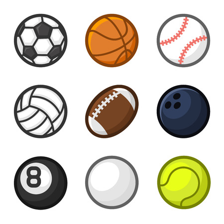 Sport Balls Cartoon Style Set on White Background. Vector illustration