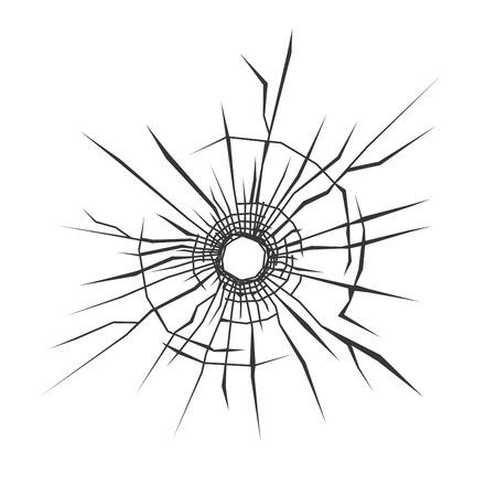 Buco di proiettile in vetro. Sfondo bianco. illustrazione di vettore