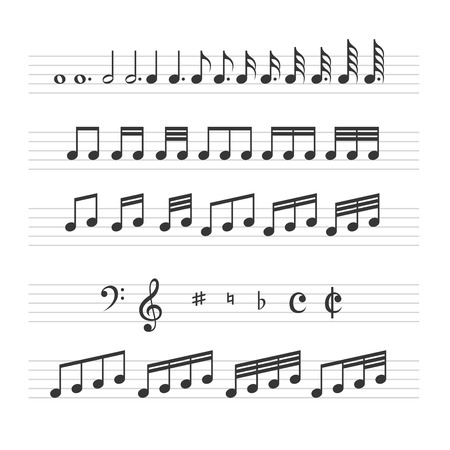 bass: Music Note Sign Set on White Background. Vector illustration