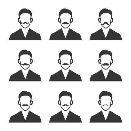 dali: Hipster With Mustache Set on White Background. Vector illustration