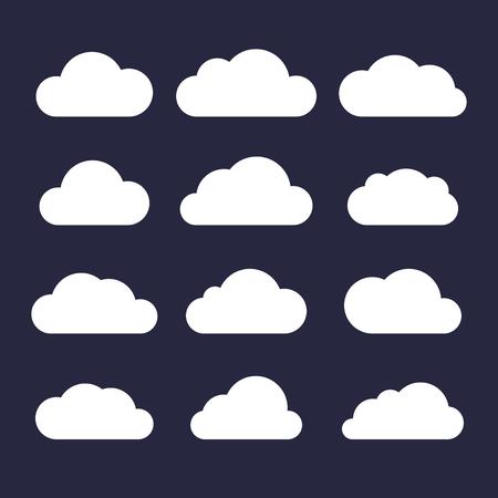 Cloud Icon Set on Dark Background. Vector illustration