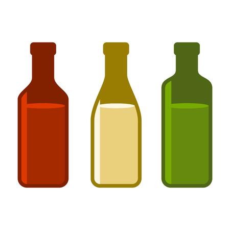 Colors Wine Bottles Set on White Background.