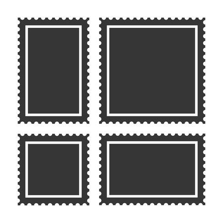 빈 우표 세트 흰색 배경입니다.