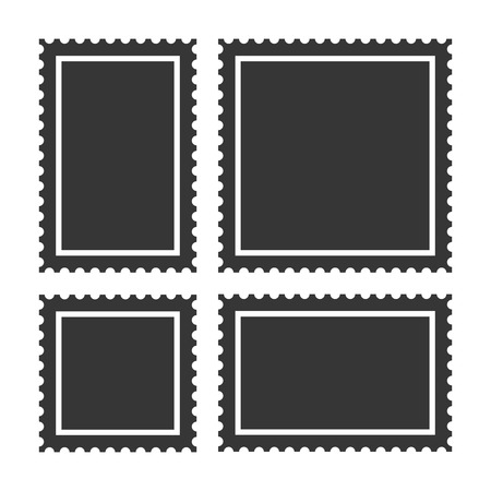 Blank Postage Stamps Set on White Background.