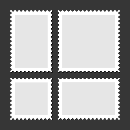 postage: Blank Postage Stamps Set on Dark Background.