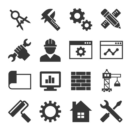 engineers: Engineering Icon Set on White Background. Vector illustration