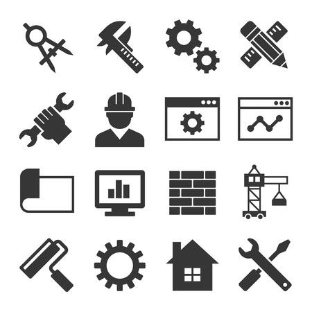 Engineering Icon Set Op Witte Achtergrond. Vector illustratie
