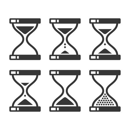 metering: Sand Hourglass Timer Icon Set. Vector illustration Illustration