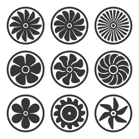 turbina: Turbinas y los iconos del ventilador determinada. Turborreactor de potencia del motor. Ilustración del vector Vectores