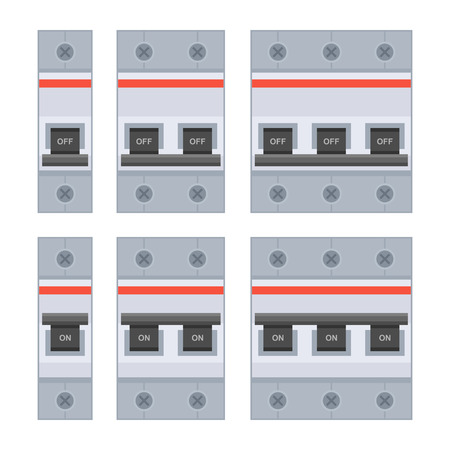 copper wire: Circuit Breakers Set on White Background. Vector illustration