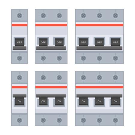 Circuit Breakers Set on White Background. Vector illustration