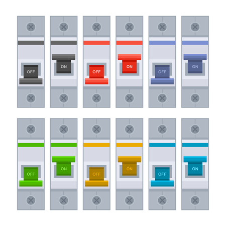 copper wire: Color Circuit Breakers Set on White Background. Vector illustration