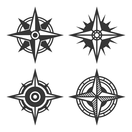 Wind Rose Retro Style Set. Vector illustration