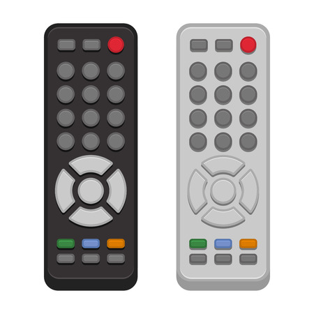 infra red: TV Remote Control Set on White Background. Vector illustration