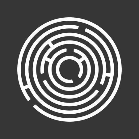 hopelessness: Circle Ring Maze on Black Background. Vector illustration