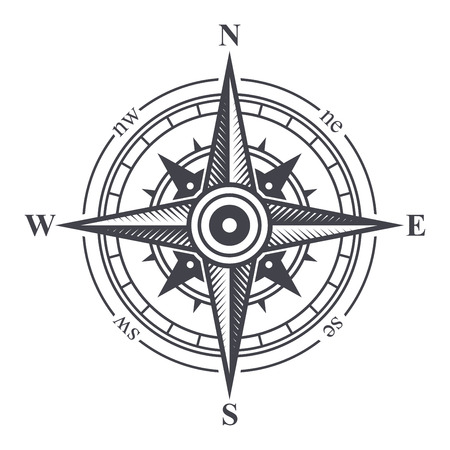 compass rose: Wind Rose or Compass Icon on White Background. Vector Illustration