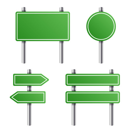 way to go: Green Road Sign Set on White Background. Vector illustration