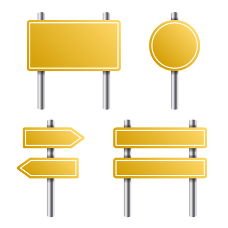 Yellow Road Sign Set on White Background. Vector illustration