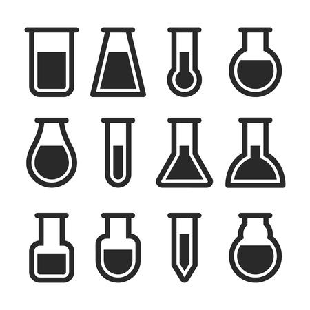 measuring: Chemical Test Tubes Icons Set. Vector illustration Illustration