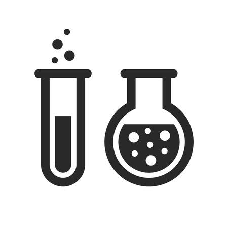 Chemische Reagenzgläser Symbole gesetzt. Vektor-Illustration