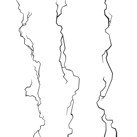 cleft: Wall Cracks Set on White Background. Vector illustration