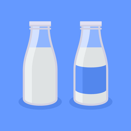 low cal: Flat Style Milk Bottle Icon on Blue Background. Vector illustration